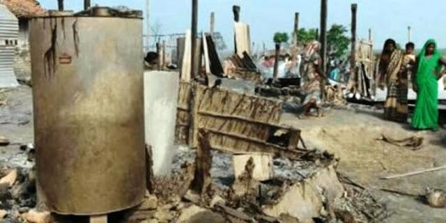 शुसासन बाबु के बिहार में दबंगों का क़हर- महादलितों के 70 घरों को दबंगों ने किया आग के हवाले