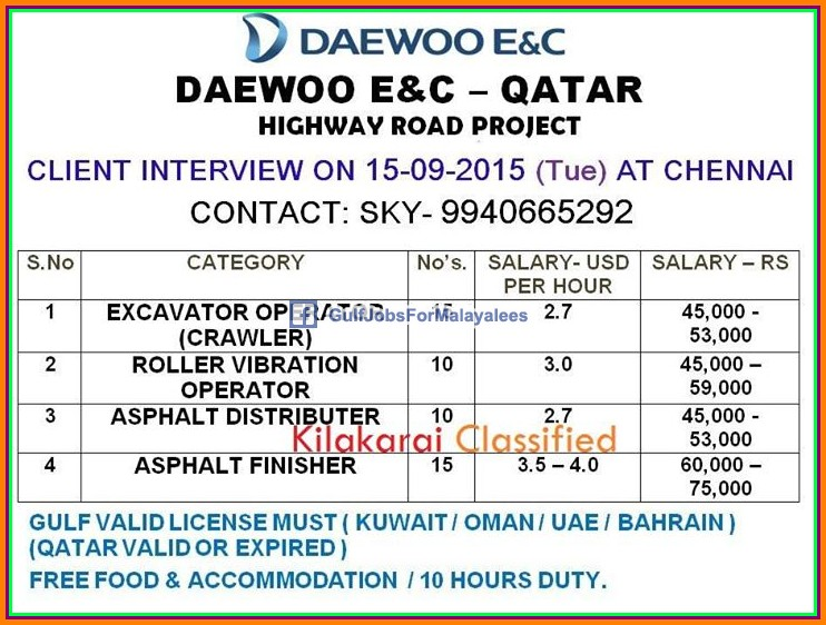 DAEWOO E&C Qatar large job vacancies - Gulf Jobs for Malayalees