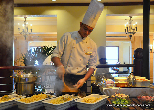 live cooking station at Dusit Thani Dubai brunch