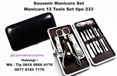 manicure Set 233#, Jual Alat Manicure isi 12 murah, Souvenir Manicure Set Murah, Peralatan Manicure isi 12, MANICURE SET 233 HITAM KULIT