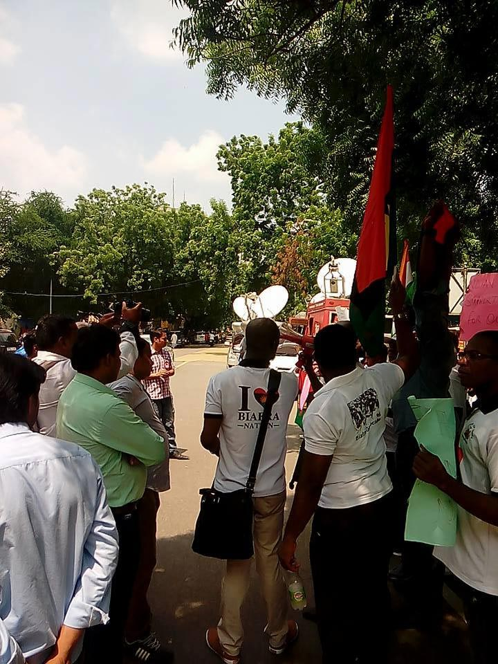 Photos: Biafrans protest for Nnamdi Kanu's release in India