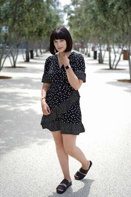 Polka dots, wrap dress, asos, Mom life, mom fashion, Breastfeeding, Summer dress