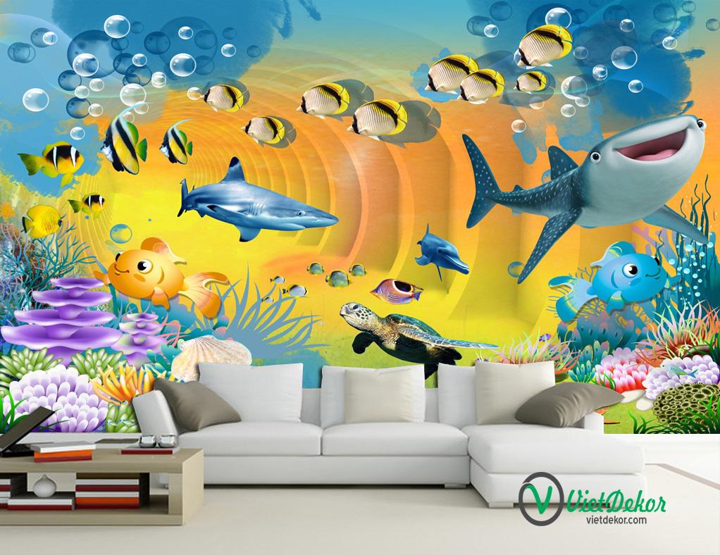 Tranh dán tường 3d phong cảnh biển cá heo