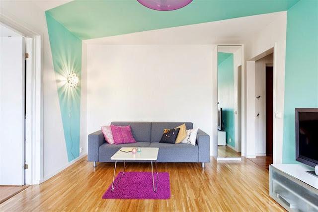 Fofura ou curiosidade do dia: parede turquesa assimétrica. Blog Achados de Decoração