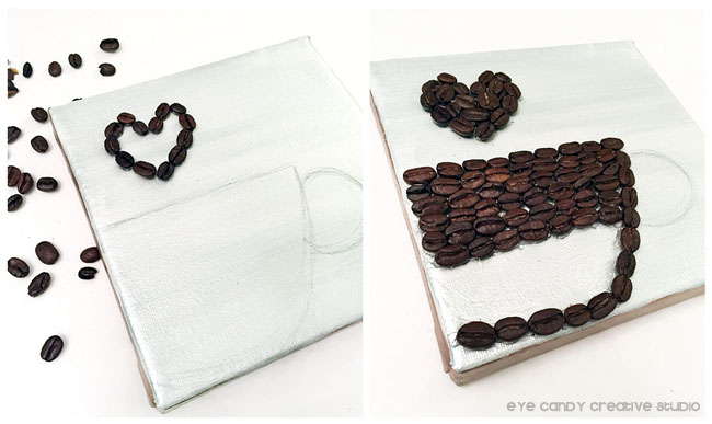 gluing coffee beans, canvas art, kitchen artwork, how to make coffee bean art