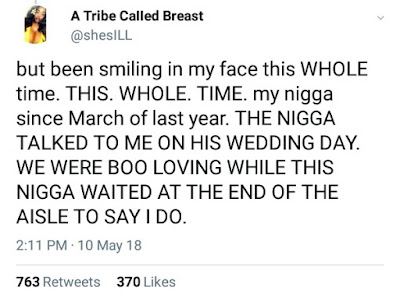 """We were booloving on his wedding day!""- Lady finds out her boyfriend of one year is married and calls him out on Twitter"