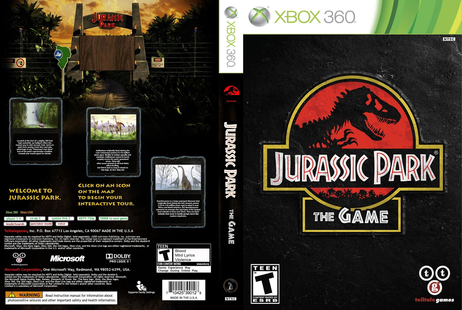 Capa Jurassic Park The Game Xbox 360