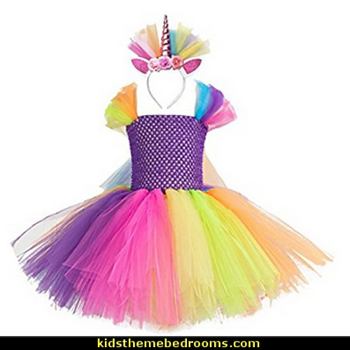 Rainbow Ribbon Tutu Skirt Costume Onesie Dress Ballet With Unicorn Headband For Girl