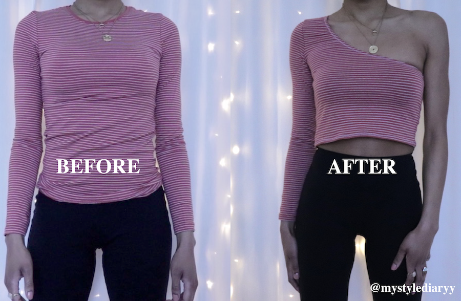 DIY transform t-shirt into one shoulder crop top