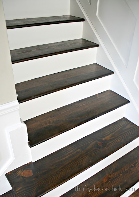 Wood stairs, white risers