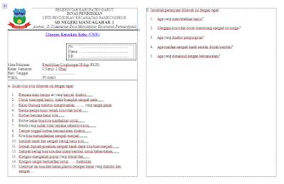Soal UKK Pendidikan Lingkungan Hidup (PLH) Kelas 1 SD