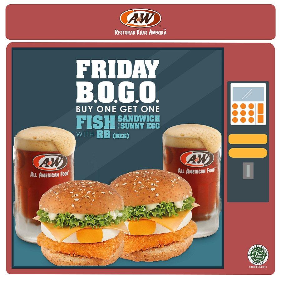 A&W - Promo Jumat Buy 1 Get 1 Free Sandwich (HARI INI)