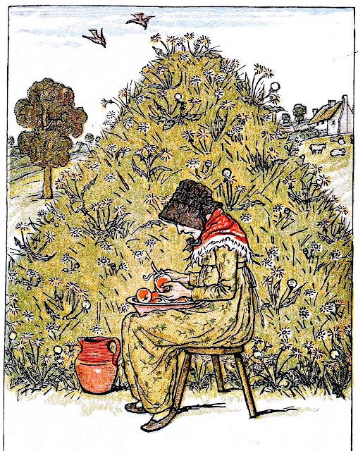 a Kate Greenaway 1898 children's book illustration, seated woman peeling apples