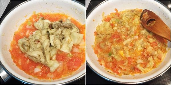 Berenjenas gratinadas rellenas de verduras