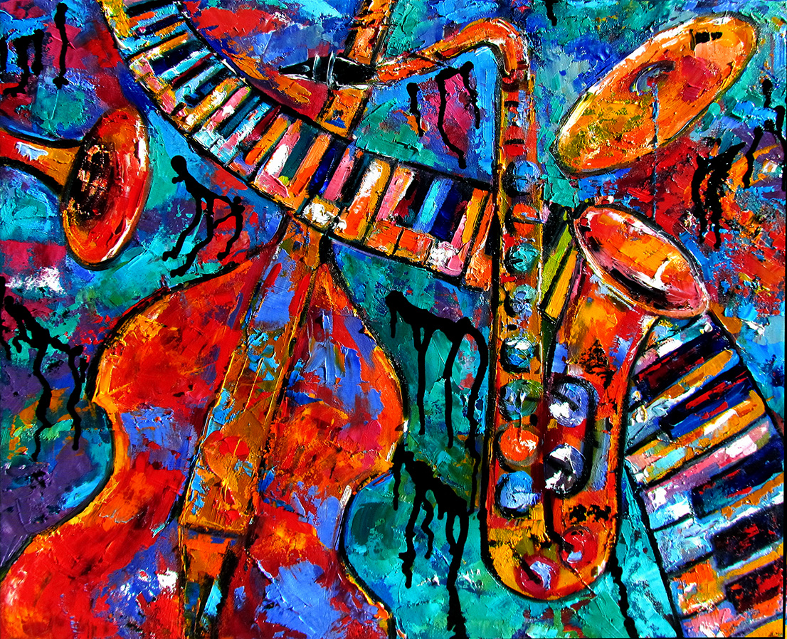 Debra hurd original paintings and jazz art abstract piano for Abstract mural art