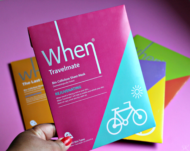 a woman holding a When travelmate sheet mask