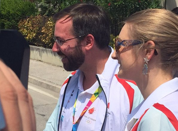 Prince Guillaume and Princess Stephanie is presently in Republic of San Marino in order to watch the Games of the Small States of Europe. Stephanie wore Diamond earrings