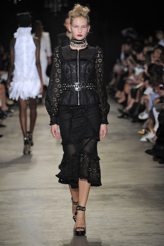 Andrew Gn Spring/Summer 2017 Look 22, black lace eyelet jacket with patchwork tango skirt
