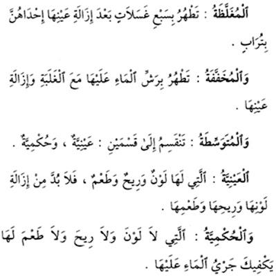 Cara Menyucikan Najis Mughallazhah, Mukhaffafah, Mutawassithah 'Ainiyyah, dan Mutawassithah Hukmiyyah
