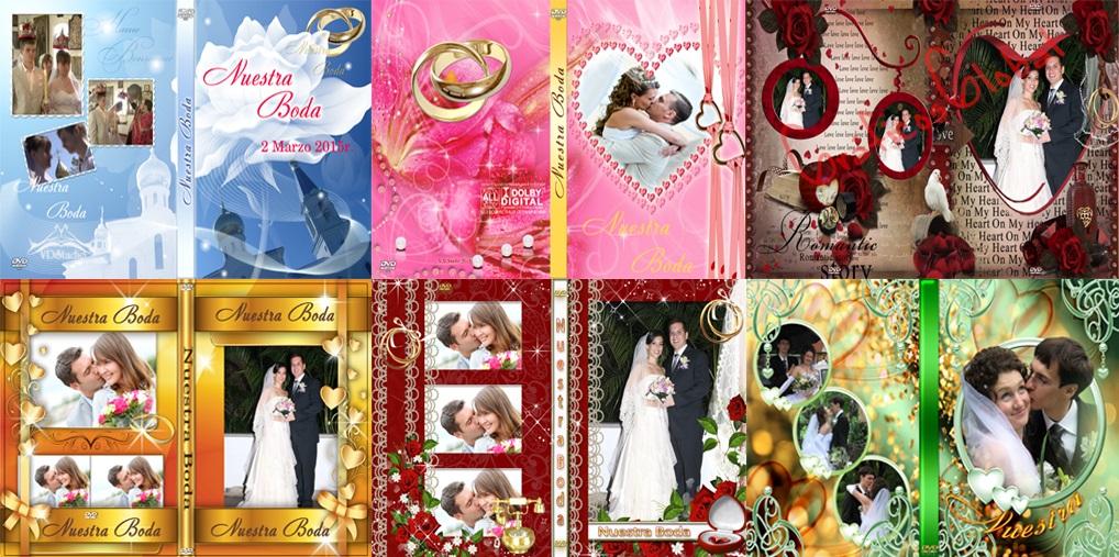8 DVDs portadas BODAS plantillas psd
