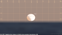 27.07.2018 godz. 20:47 CEST, widok dla Gdańska przy wschodzie Księżyca. Faza zaćmienia częściowego wzrośnie wówczas do około 38%.