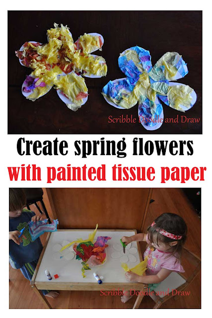 spring flower craft for kids using painted tissue paper