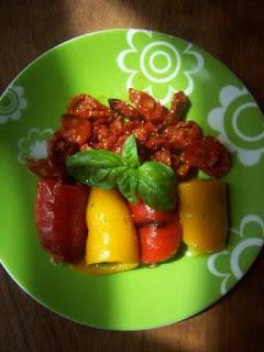 Peperoni farciti senza glutine pomodorini al forno