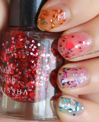 ombre glitter nails with the Missha the style nail polishes - gem stone