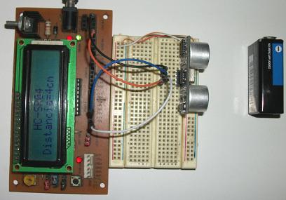 Ultrasonido funcionando con el entrenador de Pics 16fxxx.