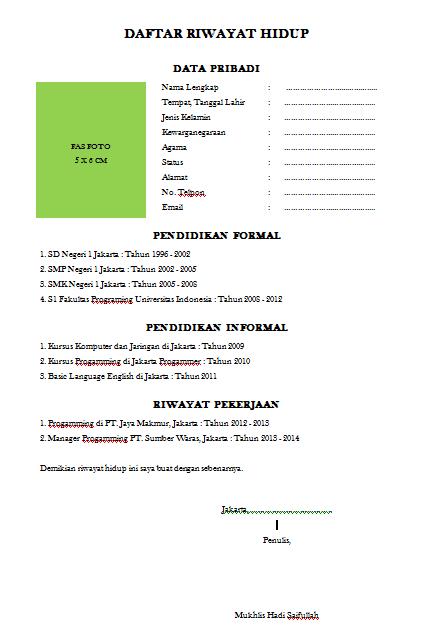Daftar Riwayat Hidup Tampilan Prahtis dan Sederhana Dalam Bentuk File Word