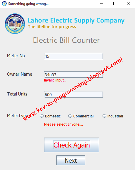 Auto Electric Bill Calculator System | GUI Complete Power