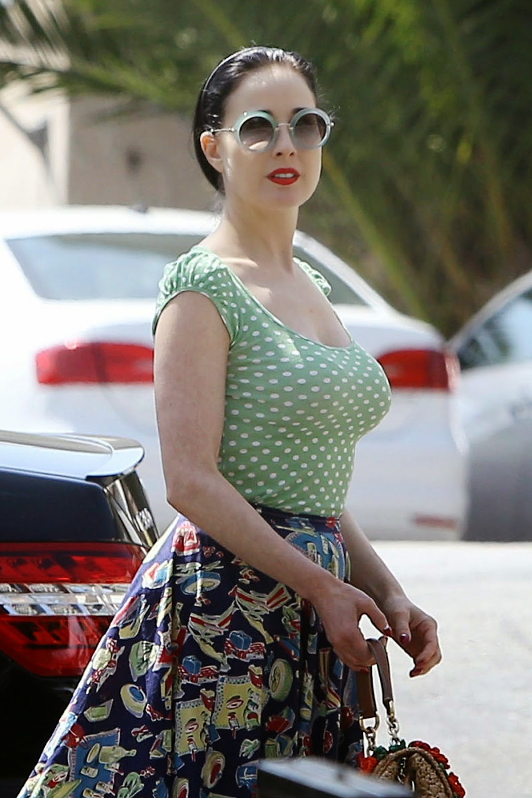 Dita Von Teese In A Polka Dot Top And Printed Skirt Out