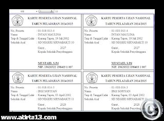 Aplikasi Cetak kartu Ujian Nasional ( UN ) tahun 2015
