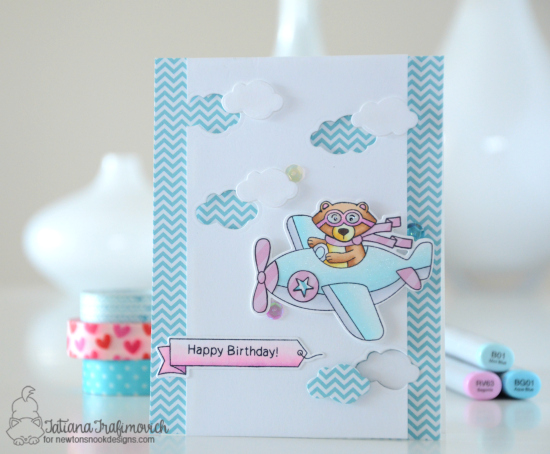 Bear driving Airplane Card by Tatiana Trafimovich | Winston Takes Flight stamp set by Newton's Nook Designs #newtonsnook