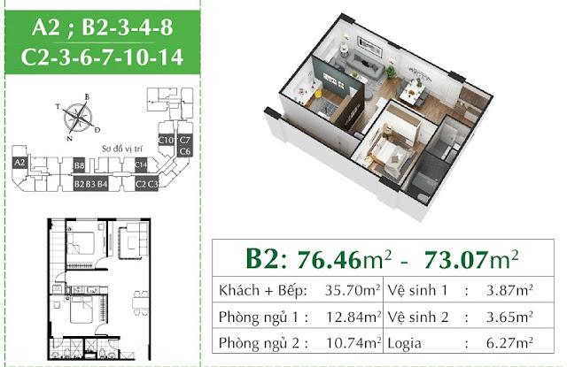 Thiết kế căn C2 - C3 - C6 - C7 - C10 - C14 giống căn B2 Eco City