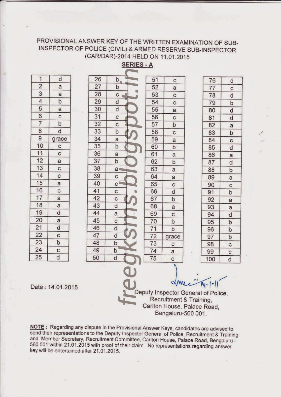 FREEGKSMS(ಸಾಮಾನ್ಯ ಜ್ಞಾನ) : Written Examination Provisional