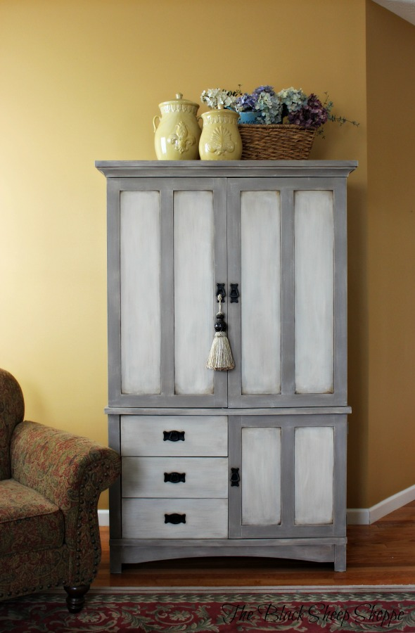TV armoire painted in Coco and Old Ochre.