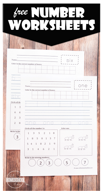 FREE Number Worksheets - great way to practice writing numbers 1-20, counting, what numbers next, identifying numbers and more for preschool, prek, kindergarten, first grade