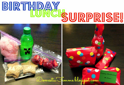 Birthday Lunch Surprise #Idea #Ideas #Lunchbox #Minecraft #Lunches #School #Easy #Birthdays