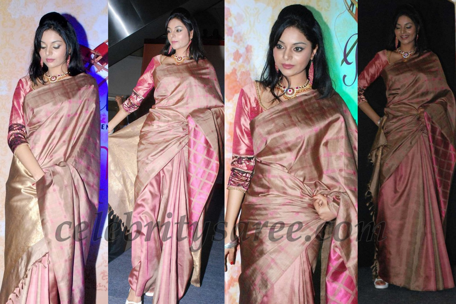 f1c9897a3cd283 Ash color pure silk plain sari paired with transparent short sleeves blouse.