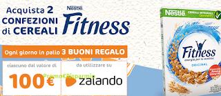 Logo Cereali Fitness Nestè : gioca e vinci 222 buoni Zalando da 100 euro