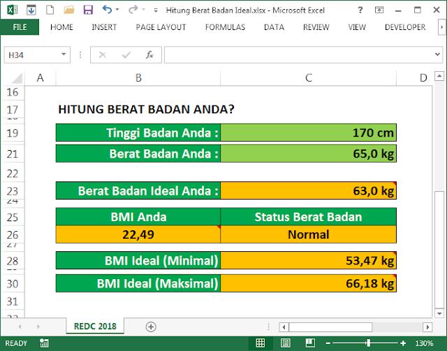 Menghitung Berat Badan Ideal dengan Excel