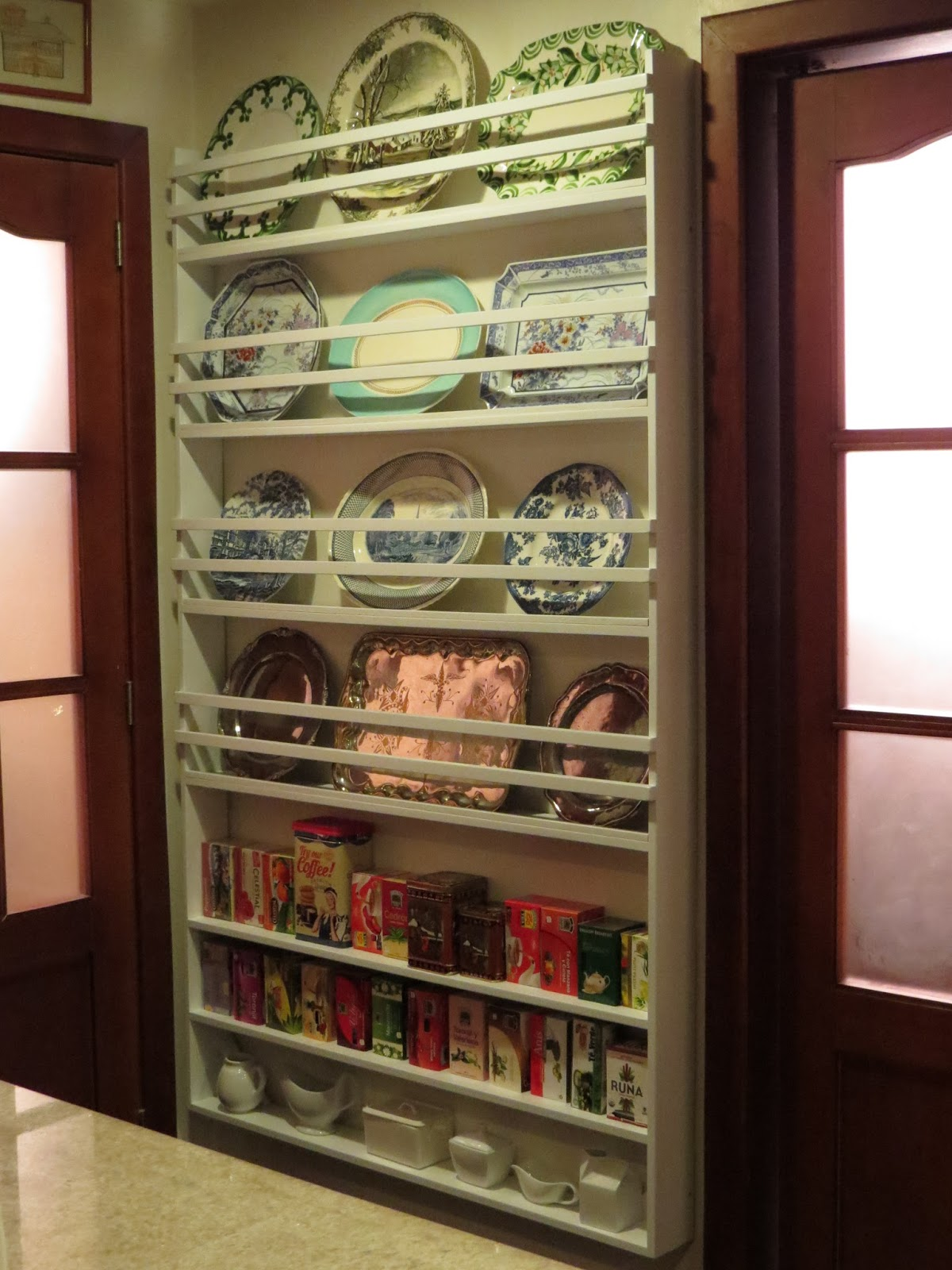 Fabby 39 s living my new wall plate rack for Kitchen display wall