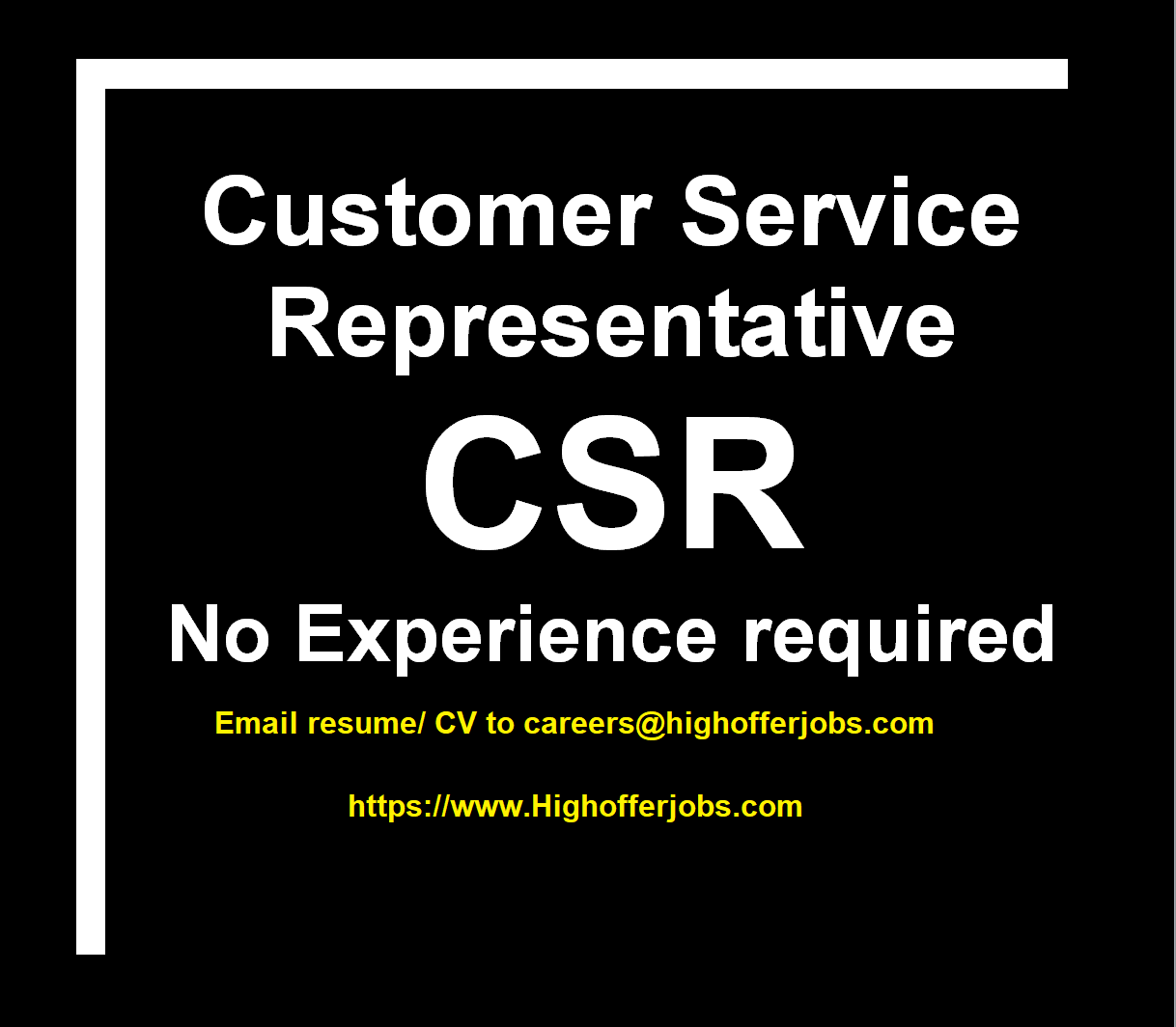 Customer Service Representative (CSR) with or without experience - START ASAP!