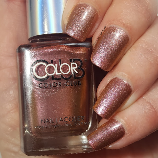 Pink to gold shifting duo-chrome nail polish wirh hints of copper