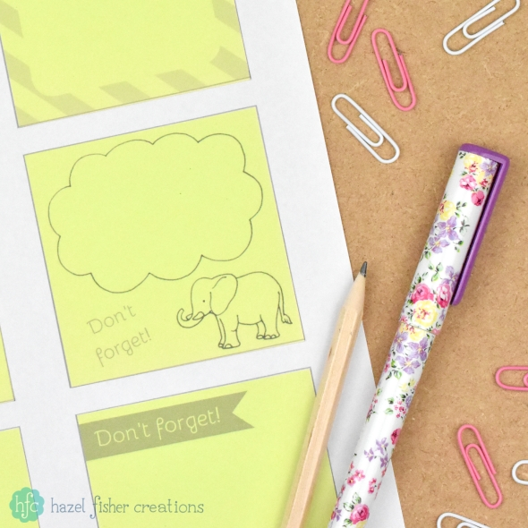 Free Printables for Sticky Notes, Elephant reminder notes by Hazel Fisher Creations
