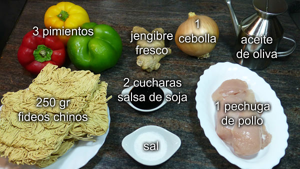 Fideos Chinos con pollo y verduras. Ingredientes