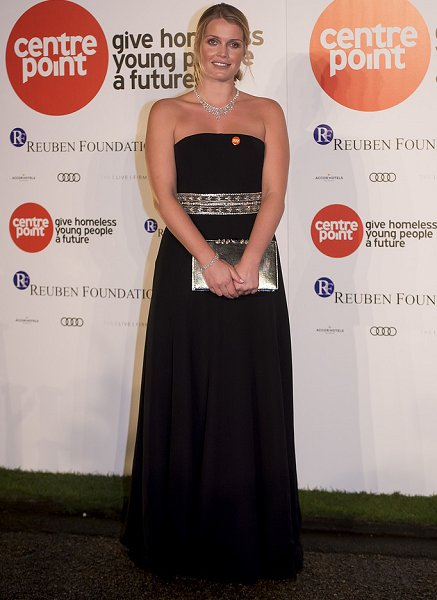 Lady Kitty Spencer Centrepoint at the Palace fundraising event, wore Valentino Gown, Valentino clutch bag, Gianvito Rossi Pumps, Diamond Pendant Diamond, necklace, diamond bracelet