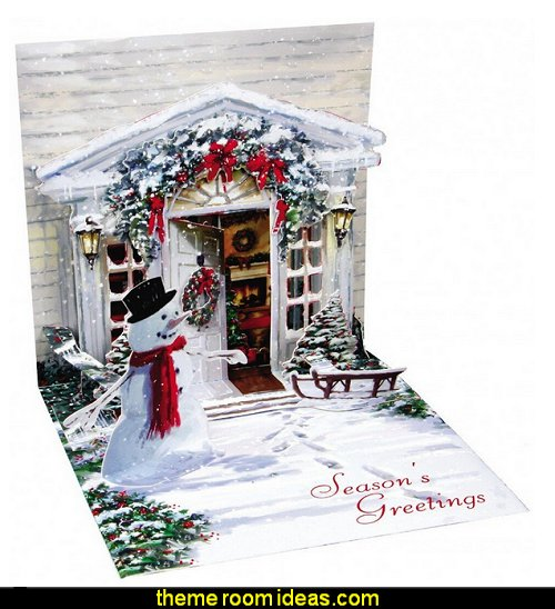 3D Greeting Card - HOLIDAY DOOR - Christmas  Christmas decorating ideas - Christmas decor - Christmas decorations - Christmas kitchen decor - santa belly pillows - Santa Suit Duvet covers - Christmas bedding - Christmas pillows - Christmas  bedroom decor  - winter decorating ideas - winter wonderland decorating - Christmas Stockings Holiday decor Santa Claus - decorating for Christmas - 3d Christmas cards