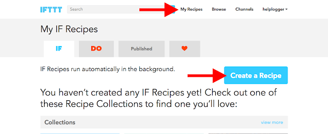 create IFTTT Blooger to Facebook recipe